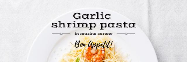 garlic shrimp pasta poster Twitter Design Template