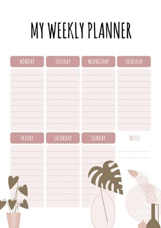 Weekly Planner with Flowers Pots Schedule Planner Design Template