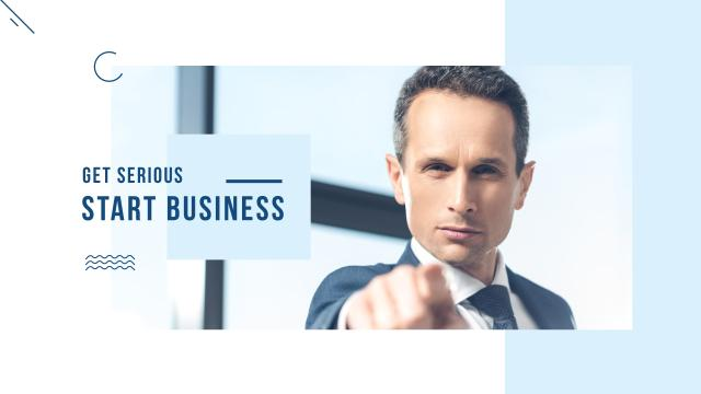Startup Motivation with Confident Businessman Youtube Modelo de Design