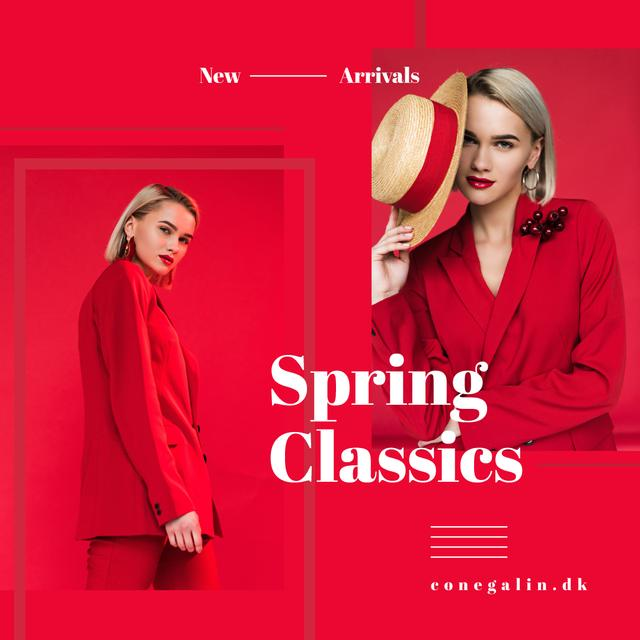 Modèle de visuel Stylish Women in Red Outfit - Instagram