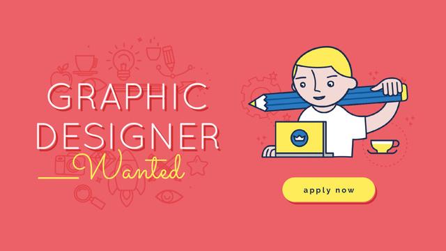 Graphic Designer Working on Laptop in Red Full HD video – шаблон для дизайна