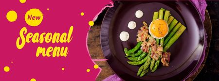Seasonal Menu offer with green asparagus Facebook coverデザインテンプレート