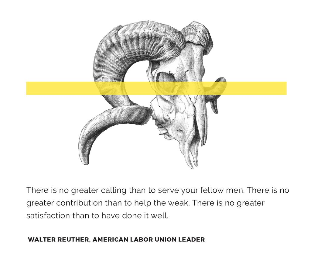 Volunteer Work Quote with animal Skull — ein Design erstellen
