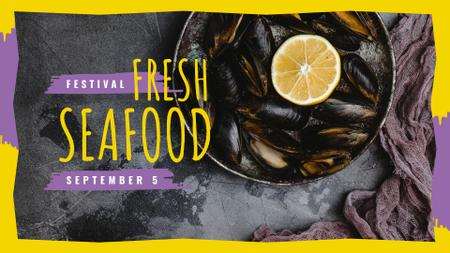 Modèle de visuel Mussels served with lemon - FB event cover