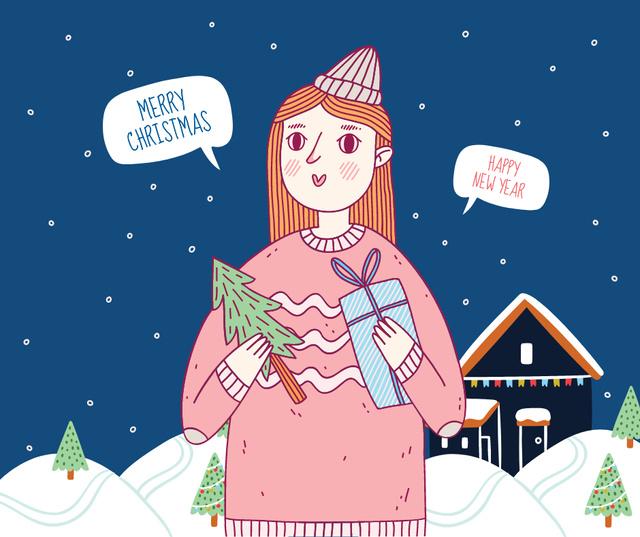 Ontwerpsjabloon van Facebook van Woman holding Christmas gift