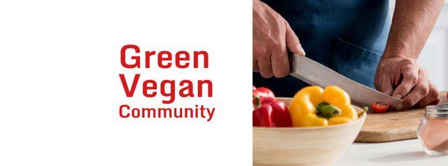 Chef cutting Vegetables Facebook cover Tasarım Şablonu