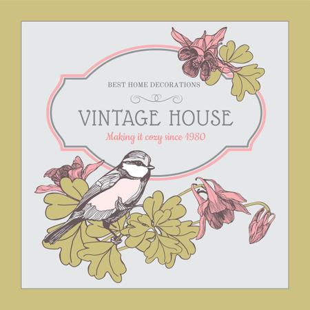 Home decor shop Ad with Bird illustration Instagram Modelo de Design