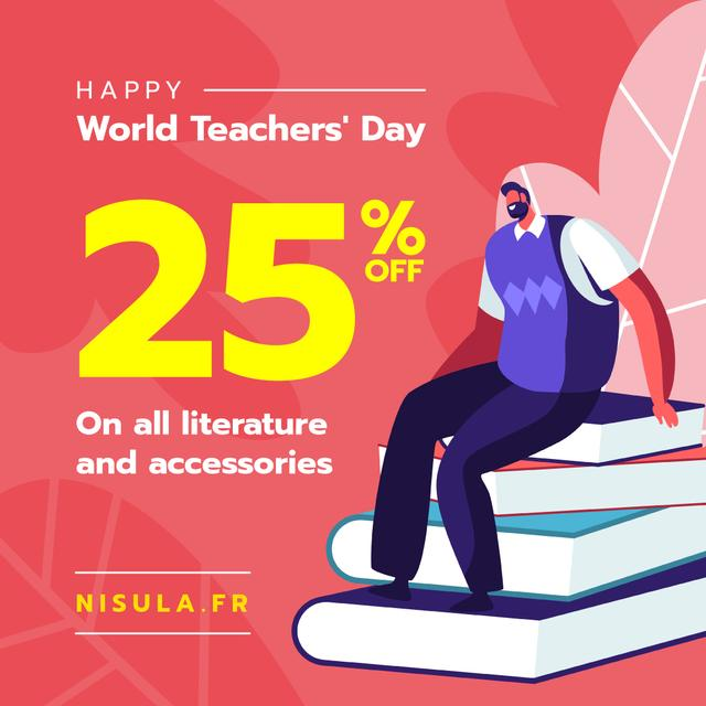 World Teachers' Day Sale Man on Stack of Books Instagramデザインテンプレート