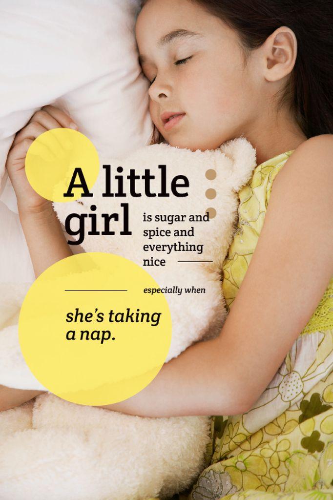 Childhood Quote Cute Little Girl Sleeping — Créer un visuel