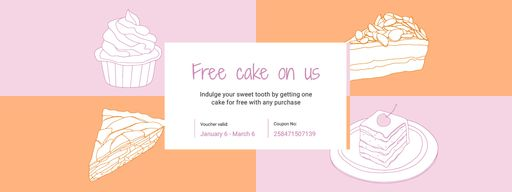 Sweets Offer With Cakes Sketches Coupons
