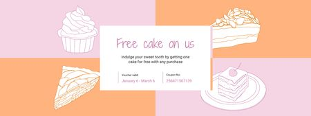 Template di design Sweets Offer with Cakes Sketches Coupon
