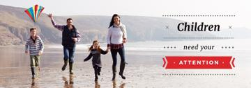 Parents with Kids Having Fun at Seacoast | Tumblr Banner Template