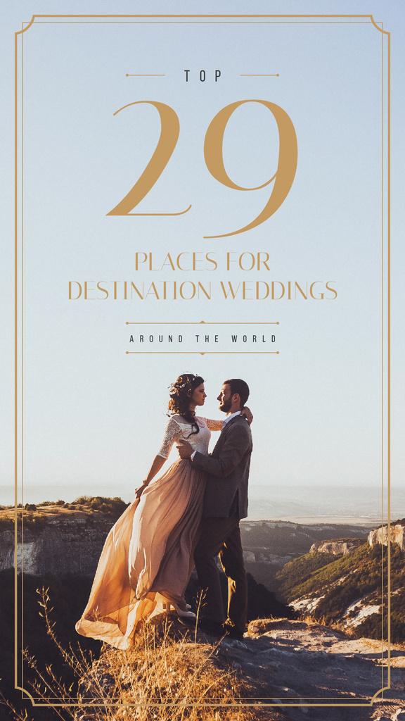 Happy newlyweds on a cliff — Maak een ontwerp