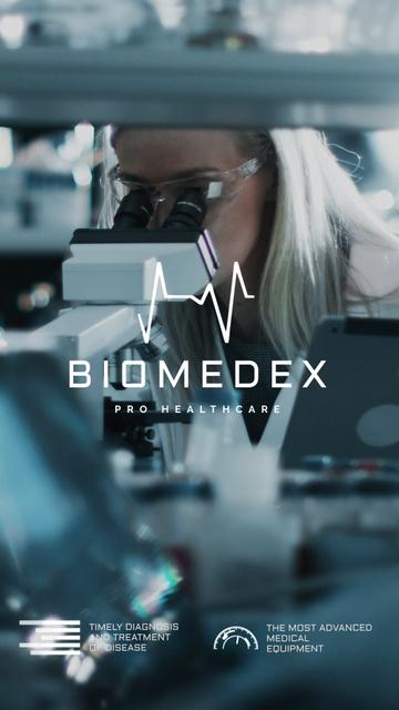 Scientist Working by Microscope in Blue Instagram Video Story Modelo de Design