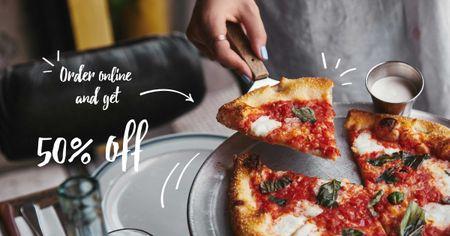 Pizzeria Online order promo Facebook AD Tasarım Şablonu