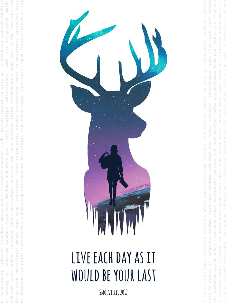 Motivational quote with Deer and Woman silhouette — Создать дизайн