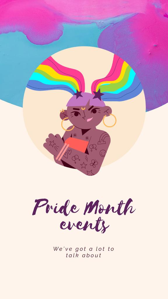 Pride Month Celebration Confident Young Girl | Vertical Video Template — Create a Design