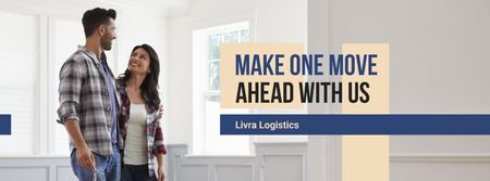 Plantilla de diseño de Logistics Services ad with Couple in new Home Facebook cover