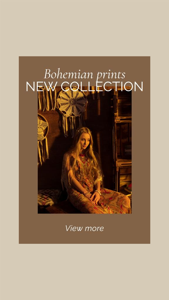 New Collection Offer with Woman in Bohemian Outfit — Crear un diseño