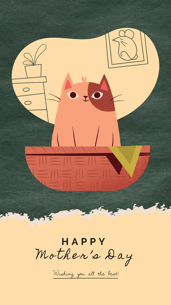 Mother's Day Greeting Cat with Kittens in Basket | Vertical Video Template — Créer un visuel