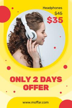 Headphones Ad Woman Listening Music