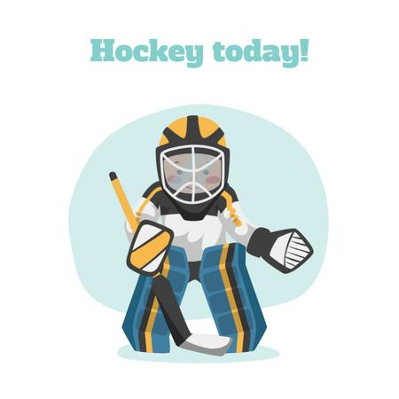Man playing hockey Animated Post Modelo de Design