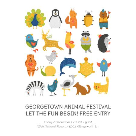 Animal Festival Announcement with Animals Icons Instagram AD Tasarım Şablonu