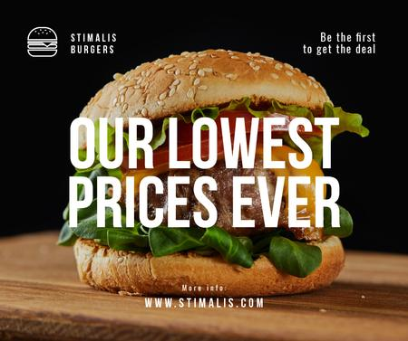 Fast Food Offer with Tasty Burger Facebook Modelo de Design