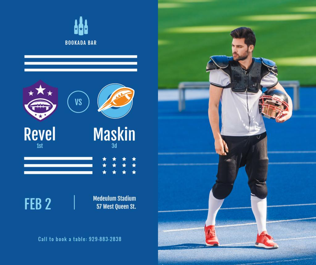 Football Match announcement Player with Ball — Crea un design