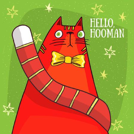 Funny Cat With Bow Tie Animated Post Modelo de Design
