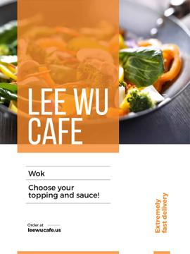 Wok menu promotion with asian style dish