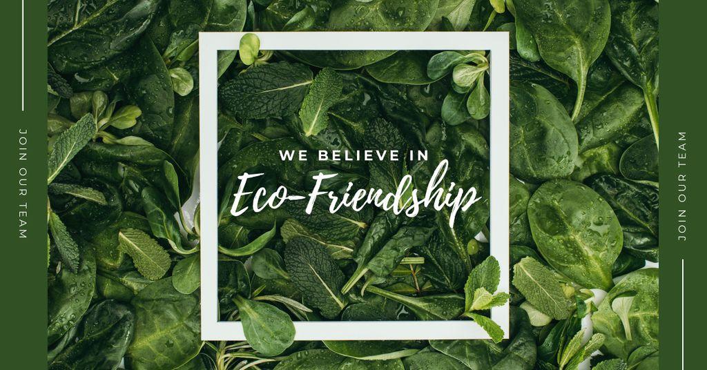 Ontwerpsjabloon van Facebook AD van Eco Friendship Concept Green plant leaves