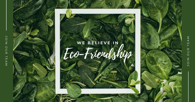 Eco Friendship Concept Green plant leaves Facebook AD – шаблон для дизайну