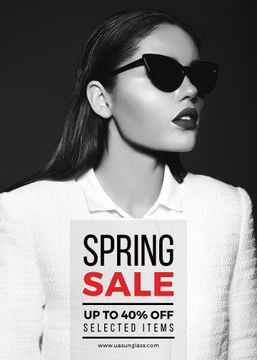 Spring sale poster with woman in sunglasses