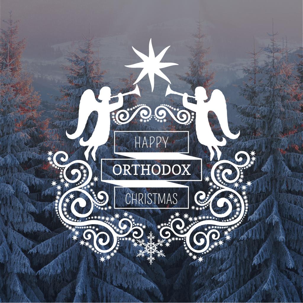 Christmas Greeting Winter Forest and Angels — ein Design erstellen