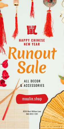 Chinese New Year Sale Asian Symbols Graphic Design Template