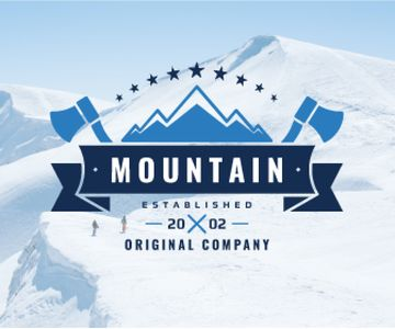 Journey Offer Mountains Icon in Blue | Large Rectangle Template