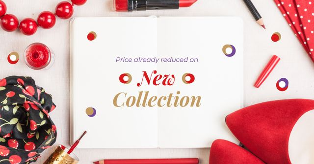 New Collection Offer with Red Accessories Facebook AD – шаблон для дизайну