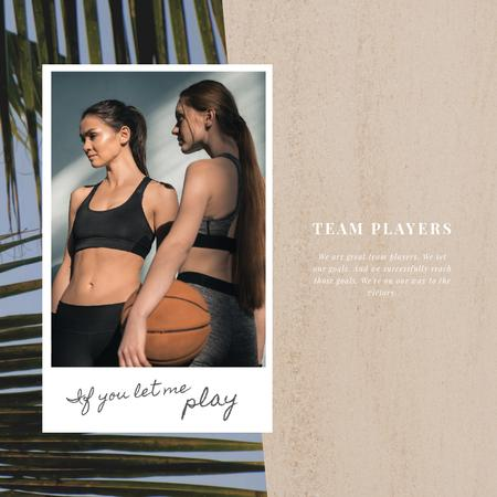 Sports Inspiration with Women Playing Basketball Animated Postデザインテンプレート