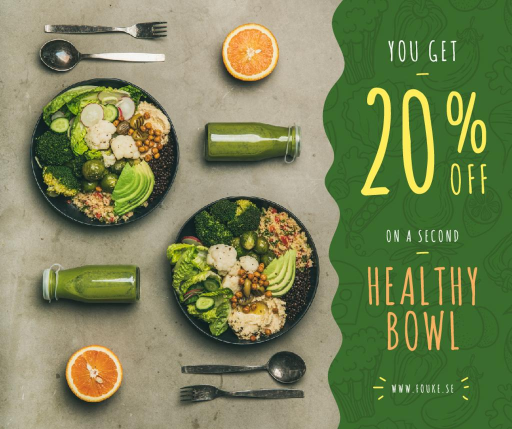 Healthy Food Offer with Vegetable Bowls | Facebook Post Template — Crear un diseño