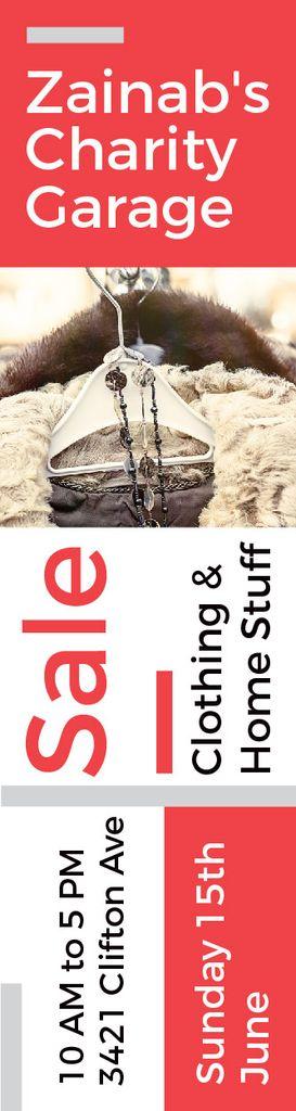 Charity Sale Announcement Clothes on Hangers — Crear un diseño