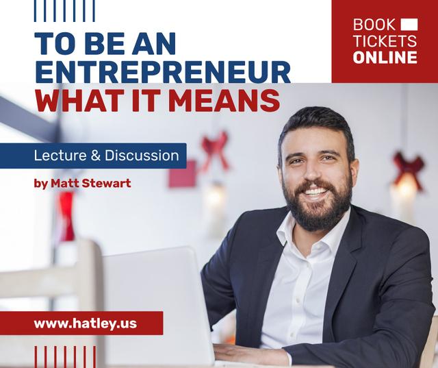 Business Event announcement smiling Man by Laptop Facebook Modelo de Design