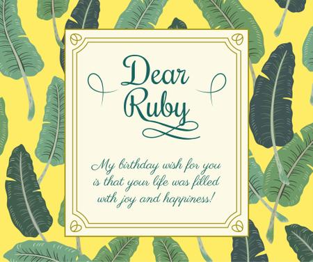 Ontwerpsjabloon van Facebook van Birthday Greeting on Tropical leaves