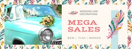 Wedding Decor Sale Car with Flowers Bouquet Facebook cover Modelo de Design