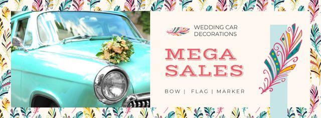 Template di design Wedding Decor Sale Car with Flowers Bouquet Facebook cover