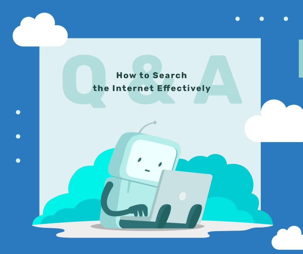 Robot working on laptop — Crear un diseño
