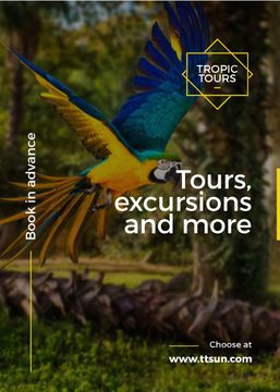 tropic tours poster with flying parrot