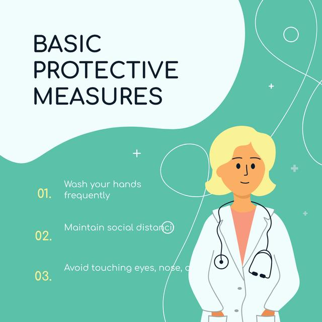Ontwerpsjabloon van Instagram van Basic Protective Measures with Doctor