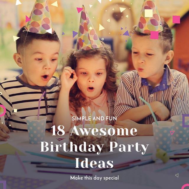 Birthday Kids Blowing Cake Candles Animated Post – шаблон для дизайна