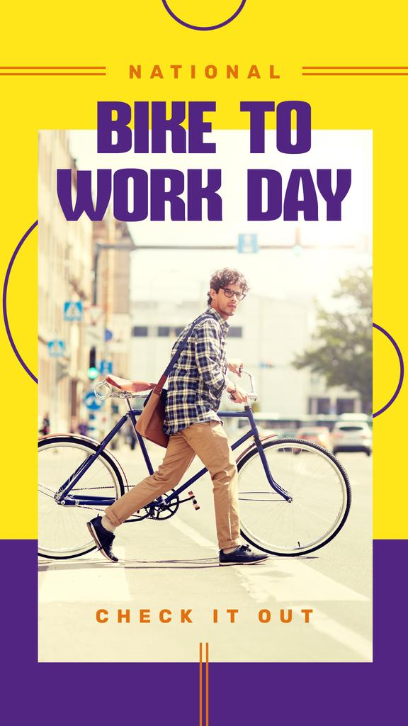 Man riding bicycle on Bike to Work Day — Créer un visuel